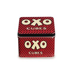 OXO Cubes Tin. I find my stock cubes can get a bit soft if stored in a cupboard in the box they come in. Maybe this will help, I hope it comes in other colours!