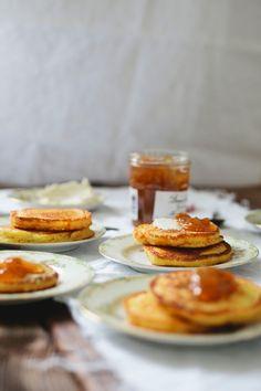 hoecakes with cream cheese and golden plum jam