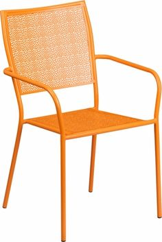 Orange Indoor-Outdoor Steel Patio Arm Chair with Square Back, CO-2-OR-GG…