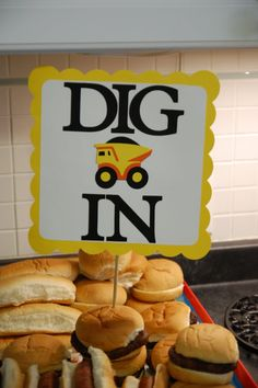 """Dig In"" sign for food table"