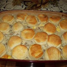 Biscuits and Gravy Breakfast Casserole