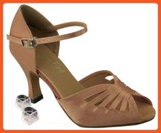 Very Fine Women's Salsa Ballroom Tango Latin Dance Shoes Style 2709 Bundle with Plastic Dance Shoe Heel Protectors, Brown Satin 4.5 M US Heel 2.5 Inch - Athletic shoes for women (*Amazon Partner-Link)