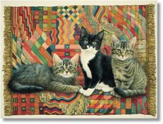 I ❤ kitties . . . Christie, Posky and Zelly on a Deco Rug ~Lesley Anne Ivory Cats