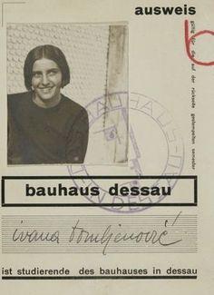 Bauhaus-Ausweis von Ivana Tomljenović, Dessau, Museum of Contemporary Art Zagreb / © The Avantgarde Museum. Bauhaus Style, Bauhaus Design, Bauhaus Art, Walter Gropius, Bauhaus Building, Ivana, Moholy Nagy, Josef Albers, Museum Of Contemporary Art