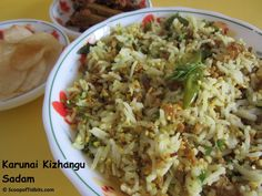 Yam Rice or Karunai Kizhangu Rice is a delicious and healthy rice preparation with the goodness of Yam or Karunai Kizhangu. Yam is a favorite veggie at hom