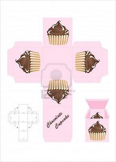 one cupcake box printable                                                       …                                                                                                                                                                                 Más