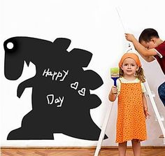 Black dinosaur chalkboard Wall sticker Children sticker Room decoration Dinosaur silhouette