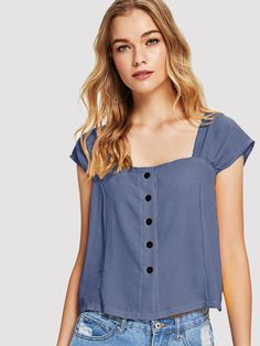 SheIn offers Single Breasted Solid Vest & more to fit your fashionable needs. Plain Tops, Plain Shirts, Blouse Styles, Blouse Designs, Fashion News, Fashion Outfits, Spring Blouses, Diy Vetement, Indian Blouse