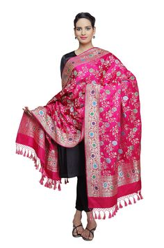 Hot Pink Kadhwa Banarasi Jangla dupatta with meenakari – WeaverStory