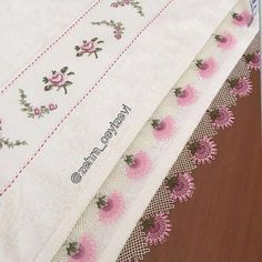 Bamboo big face towel the # Iğneoya of shopping # Sözbohca of. Embroidery Suits Design, Hand Embroidery, Embroidery Designs, Crochet Table Runner, Needlework Shops, Face Towel, Linen Towels, Needle Lace, Lace Making