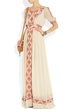 Cream crepe Red and beige embroidered panels, sheer sleeves, button-fastening keyhole, button-fastening placket, partially lined Concealed hook and zip fastening at back 100% viscose; lining: 100% polyester Dry clean
