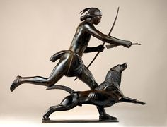 Indian Hunter and His Dog, Paul Manship,  1926, bronze, 23 1/4 x 23 1/2 x 7 in. (59.0 x 59.7 x 17.8 cm), Smithsonian American Art Museum, Gift of the artist, 1965.16.11