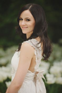 Elegant bridal hair + makeup idea - hair down in loose waves with a smokey ice and pale pink lip {John Heredia Photography}