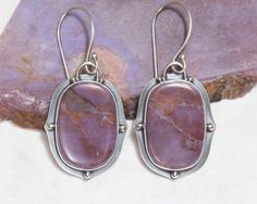 RESERVED Lavender Jade Earrings Sterling Silver Oxidized