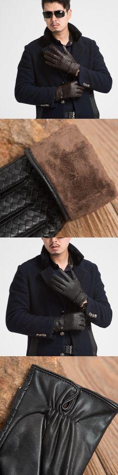 High Quality Weave Men Genuine Leather Gloves Fashion Solid Wrist Sheepskin Glove Man Plus Velvet Winter Warm Gloves Driving