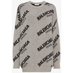 Balenciaga Jacquard Oversized Logo Sweater ($925) ❤ liked on Polyvore featuring tops, sweaters, grey, oversized tops, oversized gray sweater, logo top, oversized sweaters and over sized sweaters