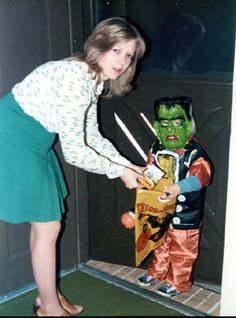 Retro Trick or Treat. Funny how time marches on and now your the mom passing out the candy...