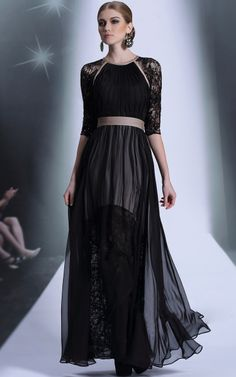 466c05404b Pretty   Fashionable Middle Sleeve Lace Waist Shaping 30916 Evening Dress ----Black