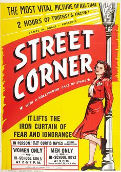 A stunning, impressive and carefully restored Street Corner Retro Film Poster. Our artwork has been taken from a vintage book dating from as far back as the Enjoy this unique timeless artwork in your home or office. 1940s Movies, Old Movies, Vintage Movies, Banners, Small Town Girl, Film Posters, Cinema Posters, I School, First Photo