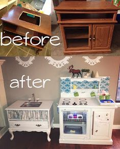 Adventures in Crafting by katyANDzucchini: DIY play kitchen - DIY Decors Image Play Kitchen Diy, Toddler Play Kitchen, Toy Kitchen, Play Kitchens, Kitchen Games, Kitchen Tray, Diy Kids Furniture, Repurposed Furniture, Furniture Stores