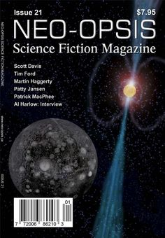 Issue 21 of Neo-opsis Science Fiction Magazine, published February 7, 2012. The cover of issue 21 is Diamond Planet, by Karl Johanson. This is an artist's conception of a 'diamond planet, recently discovered orbiting a radio pulsar (PSR J1219-1428). The planet was discovered by Professor Matthew Bailes (of the Swinburn University of Technology) and his team.