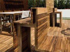 External wooden seating