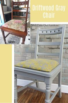 Dixie Belle Driftwood Gray is a gorgeous versatile color to update an accent chair. With some inexpensive paint and fabric, you have a whole new piece of furniture! Click to see the products and… More Diy Furniture Projects, Paint Furniture, Upcycled Furniture, Furniture Makeover, Refurbished Furniture, Grey Desk Chair, Painted Stools, Furniture Painting Techniques, Diy Home Accessories