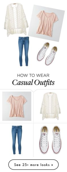 """""""Casual outfit."""" by hunter-jaworski on Polyvore featuring ADRIANA DEGREAS, Frame Denim, American Eagle Outfitters and Converse"""