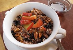 Hearty overnight breakfast quinoa: With just a little prep the night before, this recipe makes it easy to wake up to a warm, delicious breakfast. Lighter than oatmeal and packed with **complete protein** quinoa will give you sustained energy for the day.