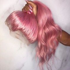 Buy Pastel Pink Hair Full Lace Wigs Natural Straight at WowEbony density, Chinese Virgin Hair, Our Human Hair Full Lace wigs are of super quality. Black Girl Curly Hairstyles, Black Curly Hair, Wig Hairstyles, Curly Hair Styles, Colored Hair Styles, Medium Hairstyles, Summer Hairstyles, Pretty Hairstyles, Hair Lights