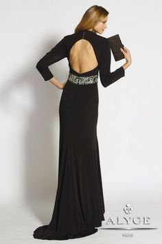 B'Dazzle Dress Style #35663 This edgy and stunning slim fitting gown has a sexy plunging neckline with beaded waistband and full length sleeves. This jersey dress has a front side slit and sweep train, and open back. Perfect for a red carpet event, prom, or any special night you have planned!