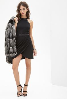 Faux Leather Trimmed Dress | FOREVER21 - 2000099453