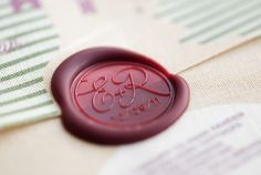 Custom wax seal for our wedding invitations (by Three Little Words)