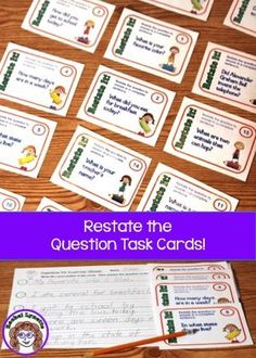 Restate the Question task cards for helping your students master this important…