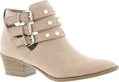 """Circus by Sam Edelman Women's Shoes in Taupe Color. Stand out in this rocker-style ankle boot. Synthetic suede upper with stud cutout and buckle details. Zipper closure. Synthetic lining. 1-1/2"""" heel height #CircusbySamEdelman #taupe #shoes #fashion #style"""