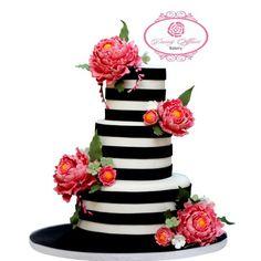 Peonies with black and white stripes Wedding Cake Red, Wedding Cakes With Cupcakes, Dream Wedding, Mini Cakes, Cupcake Cakes, Kate Spade Cake, Metallic Cake, Creative Cakes, Creative Ideas