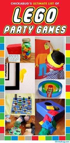 Lego themed birthday party!  Lots of TERRIFIC Lego games to entertain the kiddos.  Created by Chickabug.
