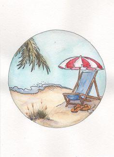 Original Pen U0026 Ink/Watercolor Painting Of Beach Chair, Beach, Ocean, ...