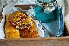 The Bedforshire Clanger is a clever pastry and lunchbox idea that has a savoury filling at one end and a sweet one at the other. It was originally designed as a filling, easy to transport lunch for farm labourers. The gorgeous buttery suet pastry is wonderfully short and crumbly and has roast pork in one end and a plum jam in the other.