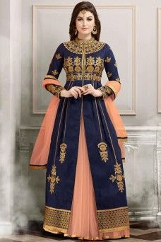 Navy Blue and Peach Designer Wedding Wear Lehenga Style Anarkali Suit  #navybluesuit #partywear #anarkali #lehengacholi #bridalwear #stylish #fancy #salwarsuit #dress #indian #bollywood #wedding #traditional #partywear #festive #lehengacholi #lehengastylesuit #suits #dress_material #saree #gulzar #gebastore #heavydesignersuits #womenfashion #indianwear #ladiesethnicwearcollection #bridecollection #embroideredsuits #partywear_anarkali #canada #uk #usa #jordan #germany #pakistan #mauritius