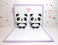 Pandas In Love 2 Pop Up Card. $8.85, via Etsy.