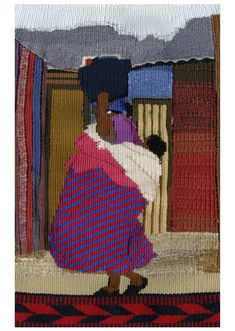 Lady carrying baby and shopping, a common sight in the townships - you don't see prams! Prams, Carry On, Tapestry, Lady, Painting, Shopping, Hanging Tapestry, Tapestries, Hand Luggage