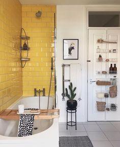 "Jan Skácelík on Instagram: ""〰️Follow @designattractor for daily interior inspo〰️ . The yellow tiles at the bathroom of @kat_at_croft_corner are just amazing 🖤😊. .…"" Home Design, Interior Design, Diy Design, Design Ideas, Modern Design, Style At Home, Appartement Design, Bathroom Interior, Bathroom Ideas"