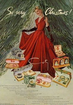 """Coty Cosmetics Christmas advert from the 50s. Coty was considered """"top of the line"""" durng the 1950s."""