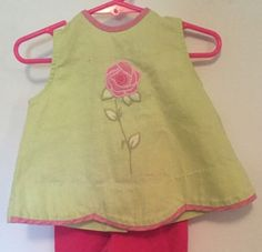 Vintage Girls Tunic Green with Red Rose Size 18 Months Button Up Back Hartstring | eBay