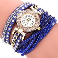 Duoya Brand Fashion Round Dial Quartz Watch Women Flower Wristwatch Steel Luxury Bracelet Watch Multilayer Leather Wrist Watch - Watchesfixx