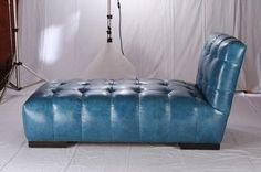 Mecox Gardens - Modern Blue Leather Lounge Chaise Detail