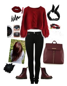 """""""Untitled #6"""" by anastaslepchenko ❤ liked on Polyvore featuring MM6 Maison Margiela, Chicwish, Dr. Martens, Red Herring, Lime Crime, Boohoo and Chico's"""