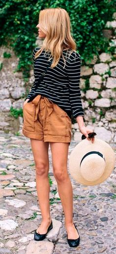 #Summer #Outfits / Striped Sweater + Black Flats