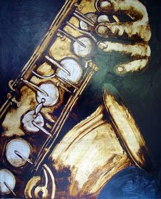 """""""The Saxophone"""" by Robin Read, Leiria // Painted in honor of Adolphe Sax the man that invented the instrument. Gold and silver leaf on canvas // Imagekind.com -- Buy stunning, museum-quality fine art prints, framed prints, and canvas prints directly from independent working artists and photographers."""